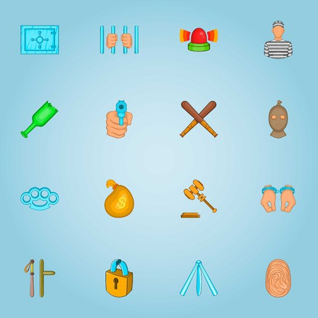 Crimes icons set. Cartoon illustration of 16 crimes vector icons for web Illustration
