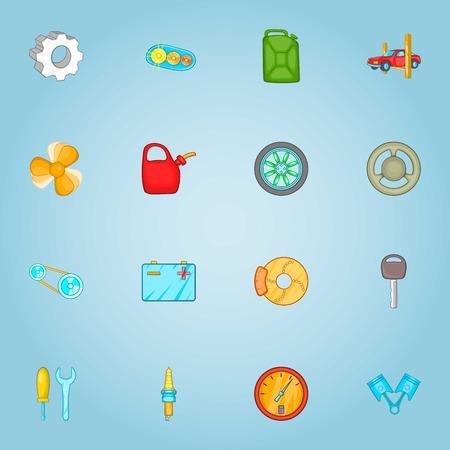 Repair machine icons set. Cartoon illustration of 16 repair machine vector icons for web Illustration