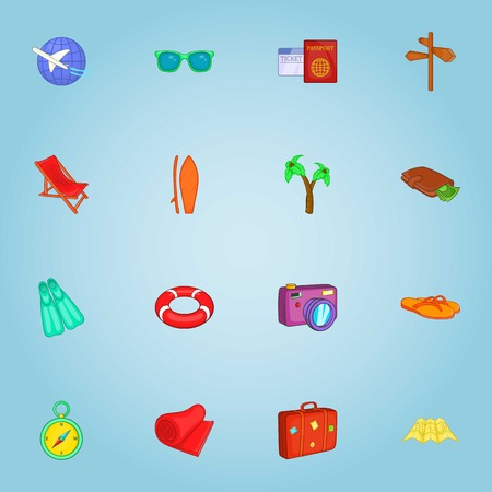brolly: Tourism icons set. Cartoon illustration of 16 tourism vector icons for web