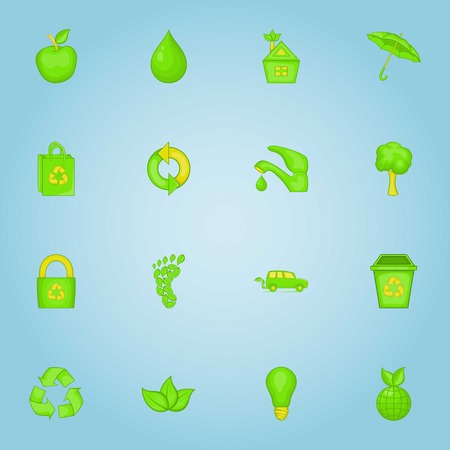 16: Ecology icons set. Cartoon illustration of 16 ecology vector icons for web