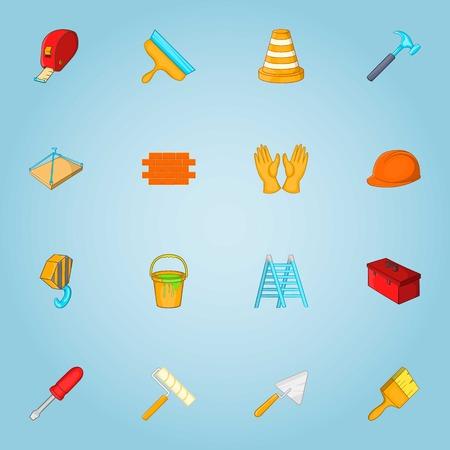 Building tools icons set. Cartoon illustration of 16 building tools vector icons for web Illustration