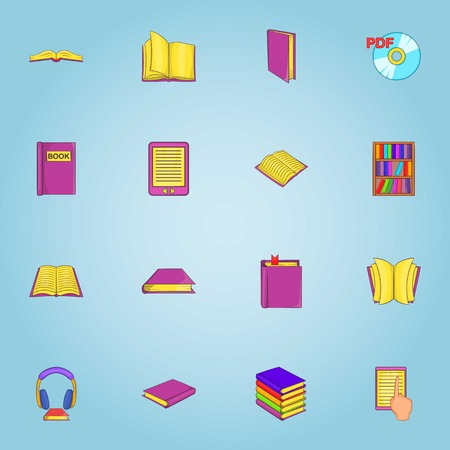 electronic publishing: Reading icons set. Cartoon illustration of 16 reading vector icons for web