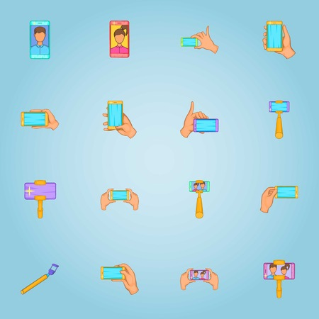 call centre girl: Photo on selfie stick icons set. Cartoon illustration of 16 photo on selfie stick vector icons for web