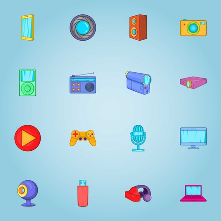 electronic: Electronic devices icons set. Cartoon illustration of 16 electronic devices vector icons for web