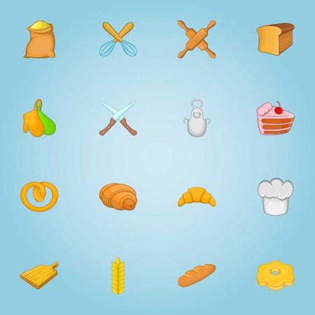 patisserie: Patisserie icons set. Cartoon illustration of 16 patisserie vector icons for web