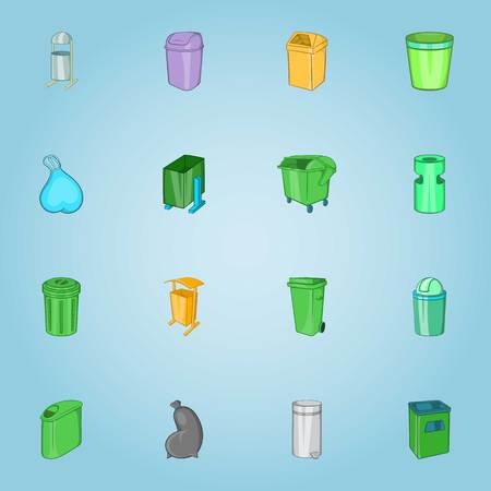 botes de basura: Trash cans icons set. Cartoon illustration of 16 trash cans vector icons for web