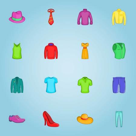 Clothing icons set. Cartoon illustration of 16 clothing vector icons for web Illustration