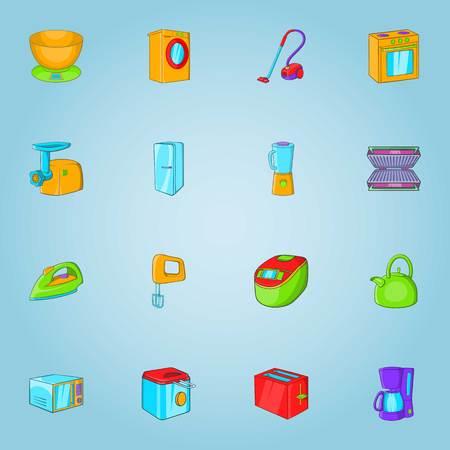 Home appliances icons set. Cartoon illustration of 16 home appliances vector icons for web Illustration