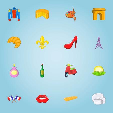 european economic community: France icons set. Cartoon illustration of 16 France vector icons for web