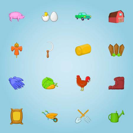 Farming icons set. Cartoon illustration of 16 farming vector icons for web Illustration