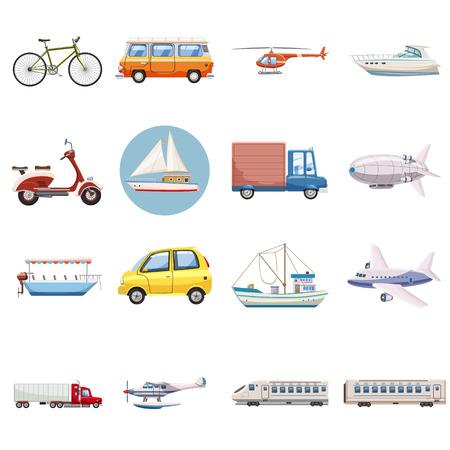 Transportation icons fixés. Outline illustration de vecteur 16 transport icônes pour le web