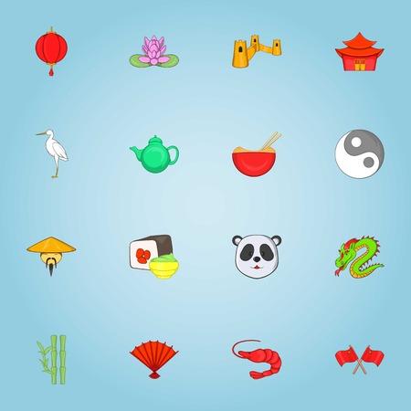 China icons set. Cartoon illustration of 16 China vector icons for web