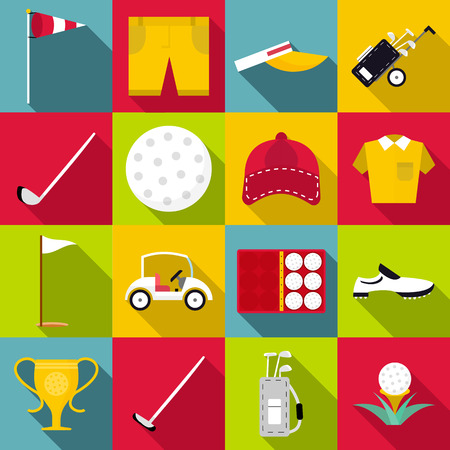 Golf icons set. Flat illustration of 16 golf vector icons for web