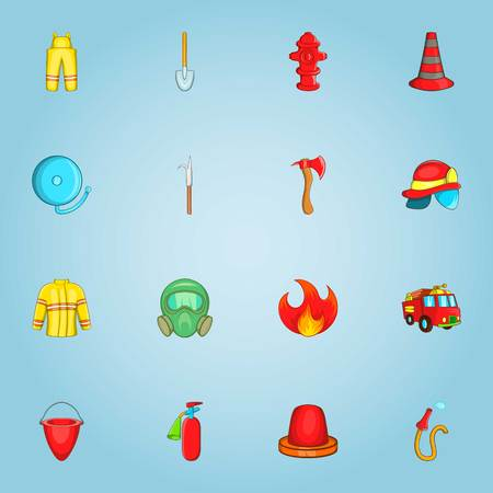Fire service icons set. Cartoon illustration of 16 fire service vector icons for web