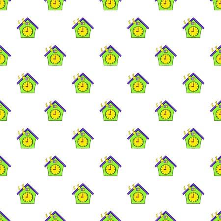 reloj cucu: Cuckoo clock pattern. Cartoon illustration of cuckoo clock vector pattern for web Vectores