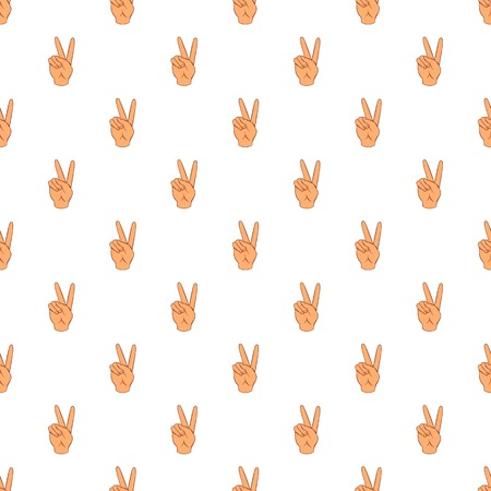 control of body movement: Gesture victoria pattern. Cartoon illustration of gesture victoria vector pattern for web