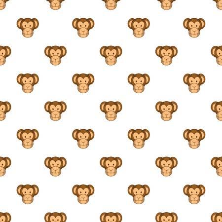 Monkey face pattern. Cartoon illustration of monkey face vector pattern for web