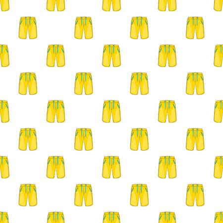 boardshorts: Yellow shorts for swimming pattern. Cartoon illustration of yellow shorts for swimming vector pattern for web