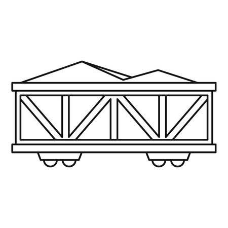 mining ships: Train cargo wagon icon. Outline illustration of cargo wagon vector icon for web design Illustration