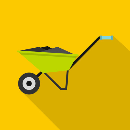 Wheelbarrow icon. Flat illustration of wheelbarrow vector icon for web design Illustration