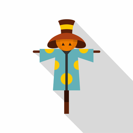 harvesting rice: Scarecrow icon. Flat illustration of scarecrow vector icon for web design Illustration