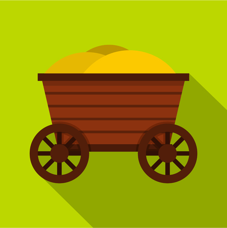 axle: Vintage wooden cart icon. Flat illustration of wooden cart vector icon for web design