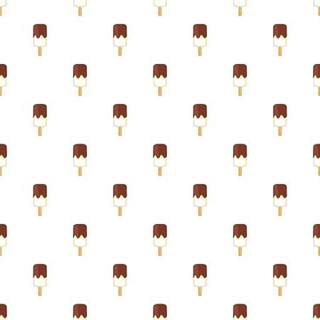 creme: Vanilla ice cream with chocolate sauce on a stick pattern. Cartoon illustration of ice cream with chocolate sauce on a stick vector pattern for web