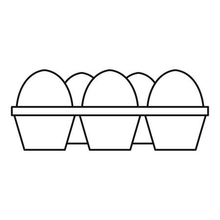 dozen: Eggs in carton package icon. Outline illustration of eggs in carton package vector icon for web design