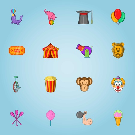 Circus icons set. Cartoon illustration of 16 circus vector icons for web