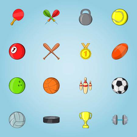 Sports stuff icons set. Cartoon illustration of 16 sports stuff vector icons for web Illustration