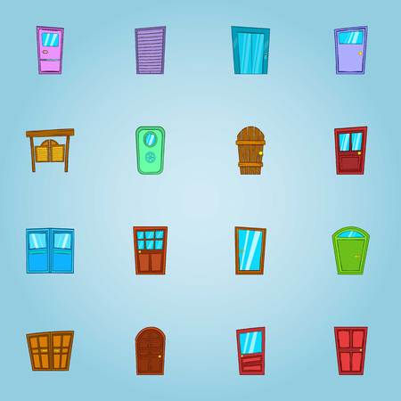 double entry: Types of doors icons set. Cartoon illustration of 16 types of doors vector icons for web
