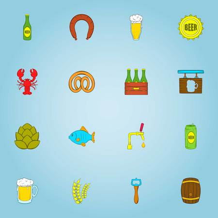 Beer icons set. Cartoon illustration of 16 beer vector icons for web