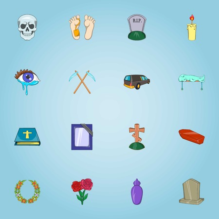 fatality: Funeral services icons set. Cartoon illustration of 16 funeral services vector icons for web Illustration