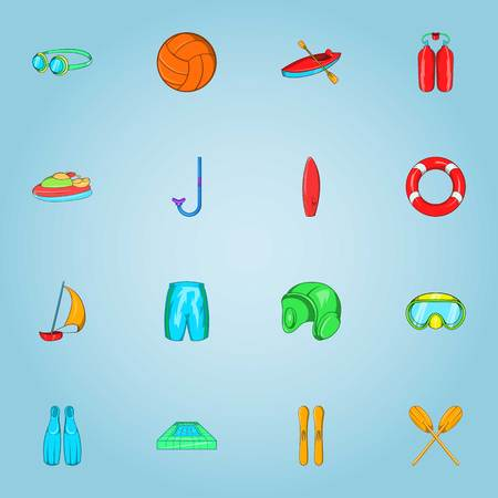 water polo: Water sports icons set. Cartoon illustration of 16 water sports vector icons for web