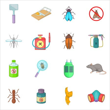 exterminator: Exterminator icons set. Cartoon illustration of 16 exterminator vector icons for web Illustration