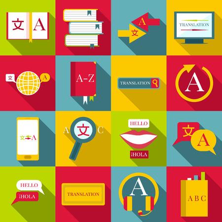 talking dictionary: Translator profession icons set. Flat illustration of 16 translator profession vector icons for web Illustration