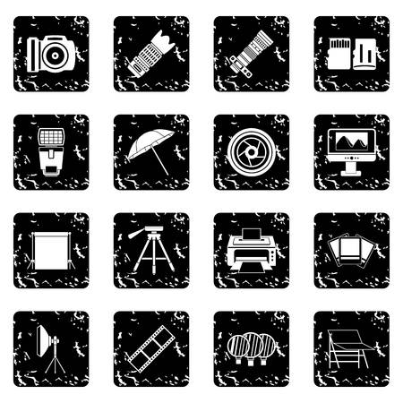 photography icons: Photography icons set. Grunge illustration of 16 photography vector icons for web