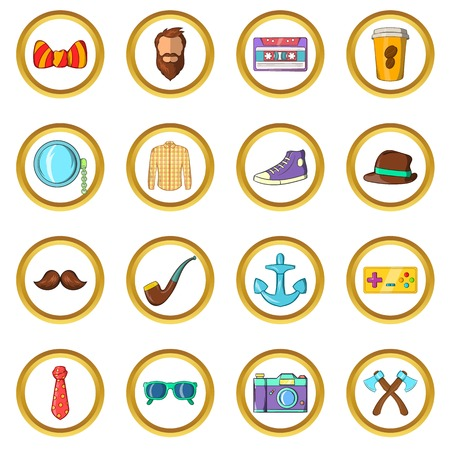 con: Hipster vector set in cartoon style isolated on white background