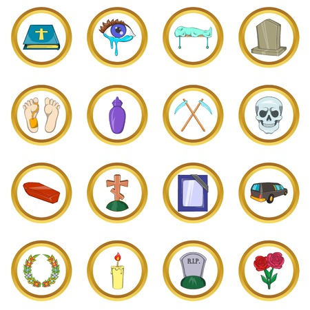 demise: Funeral Icons set in cartoon style isolated on white background