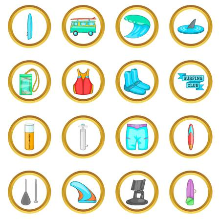 lifejacket: Surfing vector set in cartoon style isolated on white background Illustration