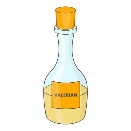Small bottle with valerian icon. Cartoon illustration of valeriana icon for web design