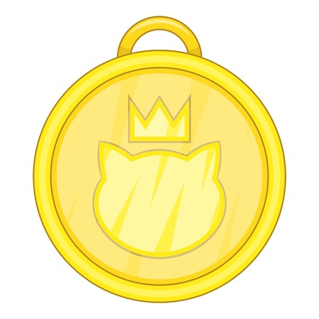 Cat medal icon. Cartoon illustration of cat medal icon for web design