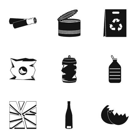 Types of waste icons set. Simple illustration of 9 types of waste icons for web