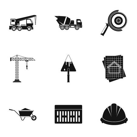 Construction tools icons set. Simple illustration of 9 construction tools icons for web