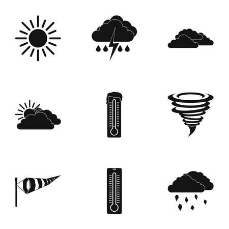 Air temperature icons set. Simple illustration of 9 air temperature icons for web Illustration
