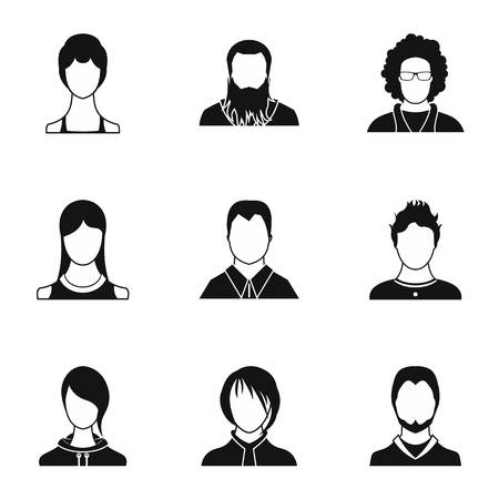 Avatar icons set. Simple illustration of 9 avatar icons for web