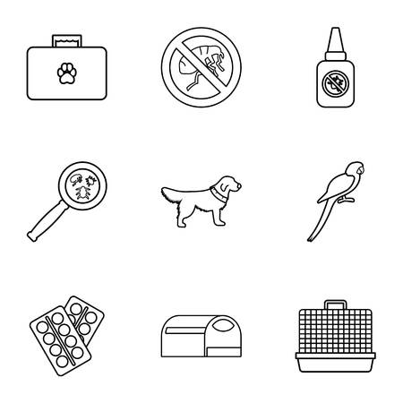 Treatment of animals icons set. Outline illustration of 9 treatment of animals icons for web