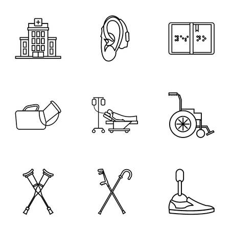 Disabled icons set. Outline illustration of 9 disabled icons for web