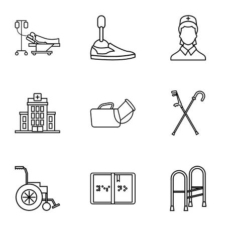 Disability icons set. Outline illustration of 9 disability icons for web