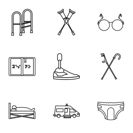 People with disabilities icons set. Outline illustration of 9 people with disabilities icons for web Illustration